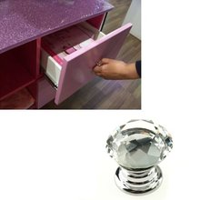 Hotsale ! 10 Pcs 20mm Crystal Glass Clear Cabinet Knob Drawer Pull Handle Kitchen Door Wardrobe Hardware(China)