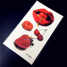 3D Strawberry Sexy Red Lip sticker Waterproof Temporary Tattoo Women Sexy PRoducts Fake Flash Tattoo Paste HYF-053 Summer Style