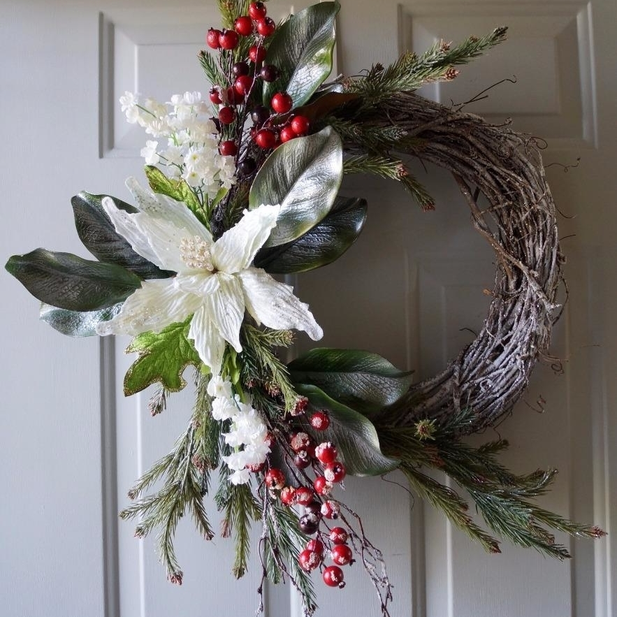 Winter Wreath, Christmas wreath, Christmas decoration, White Gold Red