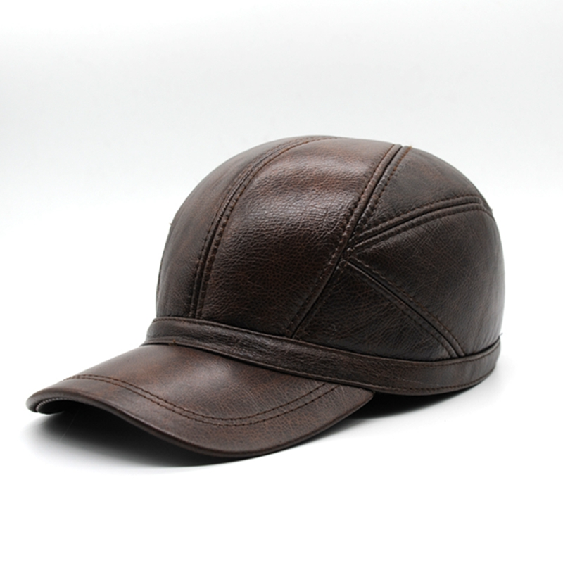 Maylooks Genuine Leather Hats for Men Baseball Cap Men's Winter Hats with Ears 2 Color Highest Quality Free Shipping CS52 10