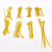 DoreenBeads 800 PCs Mixed Gold color Eye Pins Findings 0.7mm(21 gauge) (B04118), yiwu(China)