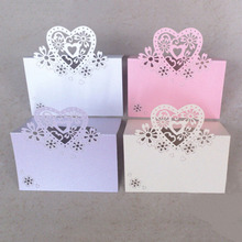 50 Pcs Pink Purple Red White Elegant Tanle Name Wine Food Guest Place Cards Heart Flower Pattern Wedding Party Supply On Sell