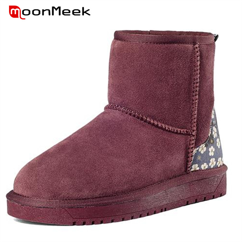 MoonMeek Rural wind snow boots hot sale nubuck leather boots winter women shoes flat with ankle boots floral warm <br><br>Aliexpress