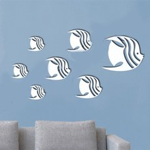 7Pcs 3D Fish Wall Stickers DIY Mirror Wall Art Decal Home Kids Bed Room Decoration Cartoon Animals Silver Wall Stickers