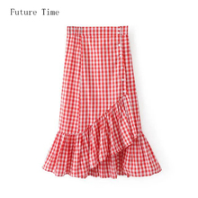 2017 Summer Fashion Plaid Skirts New High Waist Slim Trumpet Skirt 2 Colors Elegant Casual Skirt Bodycon Daily Long Skirt SK009