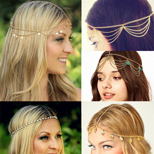 New Beach Multi Layer Metal Gold Color Head Chain Hair Jewelry Tassel Pearl Leaves Bindi hair accesories Boho Headband(China)