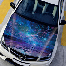 EMS Starry Sky Girl Gorgeous Aurora 150*130cm Hood Car Styling Car Sticker Customize Size to Suit all Vehicles Stickers