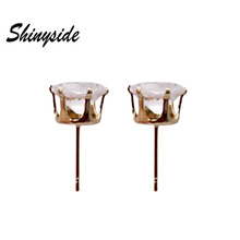 new fashion brand jewelry simple stud earrings for women metal crown crystal beads statement gift earrings free shipping