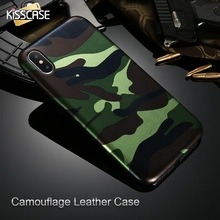 KISSCASE For iPhone 7 Case Military Camouflage Cool Men Leather Back Cover Case For iPhone 8 7 Plus For iPhone 6 6S Plus 5 5s SE(China)