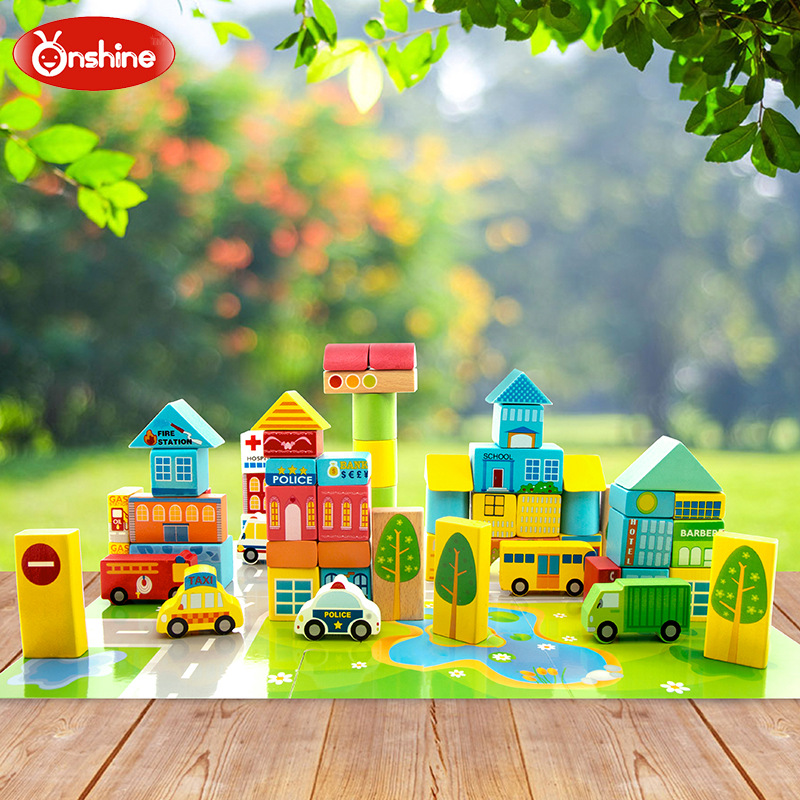 Onshine 62pcs/barrel The Urban traffic Colorful Building Blocks Beech Wood intellectual toys for Children kids <br>
