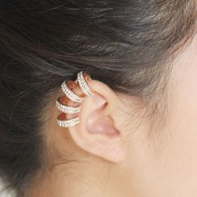1 Pc Fashion Trendy Individuality Cuff Rhinestone Clip Earrings Women Ear Jewelry Gift Round Nice Wholesale With 2Colors