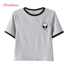 Buy 3D Print Aliens Crop Top Short Sleeve Loose Type T-Shirt Women Teenagers T-shirts Summer Women Tops for $3.33 in AliExpress store