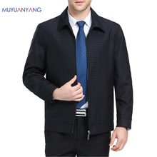New Arrivals Spring Men's Jacket Turn-down Collar Zipper Plaid Men Jackets And Coats Middle Aged Business Casual Outer Clothing