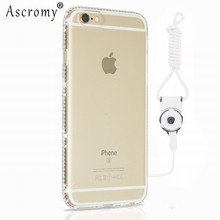 Glitter Cute For iPhone 7 Case Ascromy Rhinestone Bumper with Lanyard Neck Strap For iPhone 7 Soft TPU Cover Phone Accessories(China)