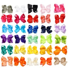 30 Colors 4'' Boutique Solid Hair Bow With Clip For Girl Adorable Toddler Baby Children Fashion Hair Accessories(China)