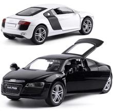 1:32 Scale AUDI R8 Super Car Alloy Diecast Car Model Toy With Pull Back Sound light For Boys Kids Collection Christmas Gift Toy