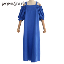 TWOTWINSTYLE Sexy Off Shoulder 2017 Summer Dress for Women Suspender Tunic Long Female Dresses Casual Blue Clothes Korean