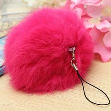 Hot sell Rabbit Fur Ball Cellphone Charm Bag Keychain DIY Decoration colorful