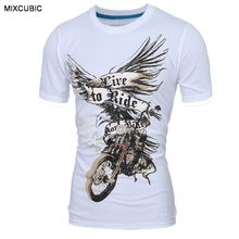 MIXCUBIC summer England style cool 3D Eagle printed T-shirts men black casual slim motorcycle printing T-shirts for men,M-XXL