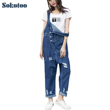Sokotoo Women's loose holes ripped denim bib overalls Casual distressed wide leg jeans Suspenders jumpsuits(China)
