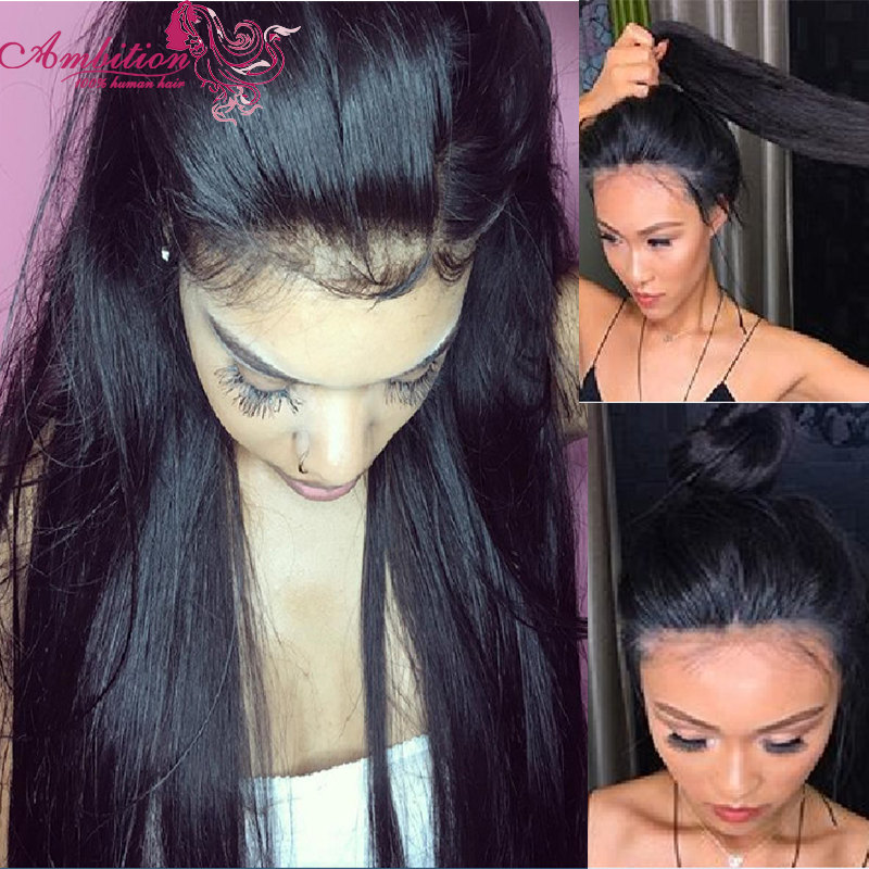 Free Part straig180% Full Density Virgin Brazilian Human Hair wigs Glueless Full Lace Front Wig Natural Straight Lace Front Wigs<br><br>Aliexpress