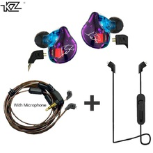 KZ ZST Hybrid Earphone Bluetooth+Wired 2 cables Armature+Dynamic Drive HI-FI Bass earphones for Sport music smart phones