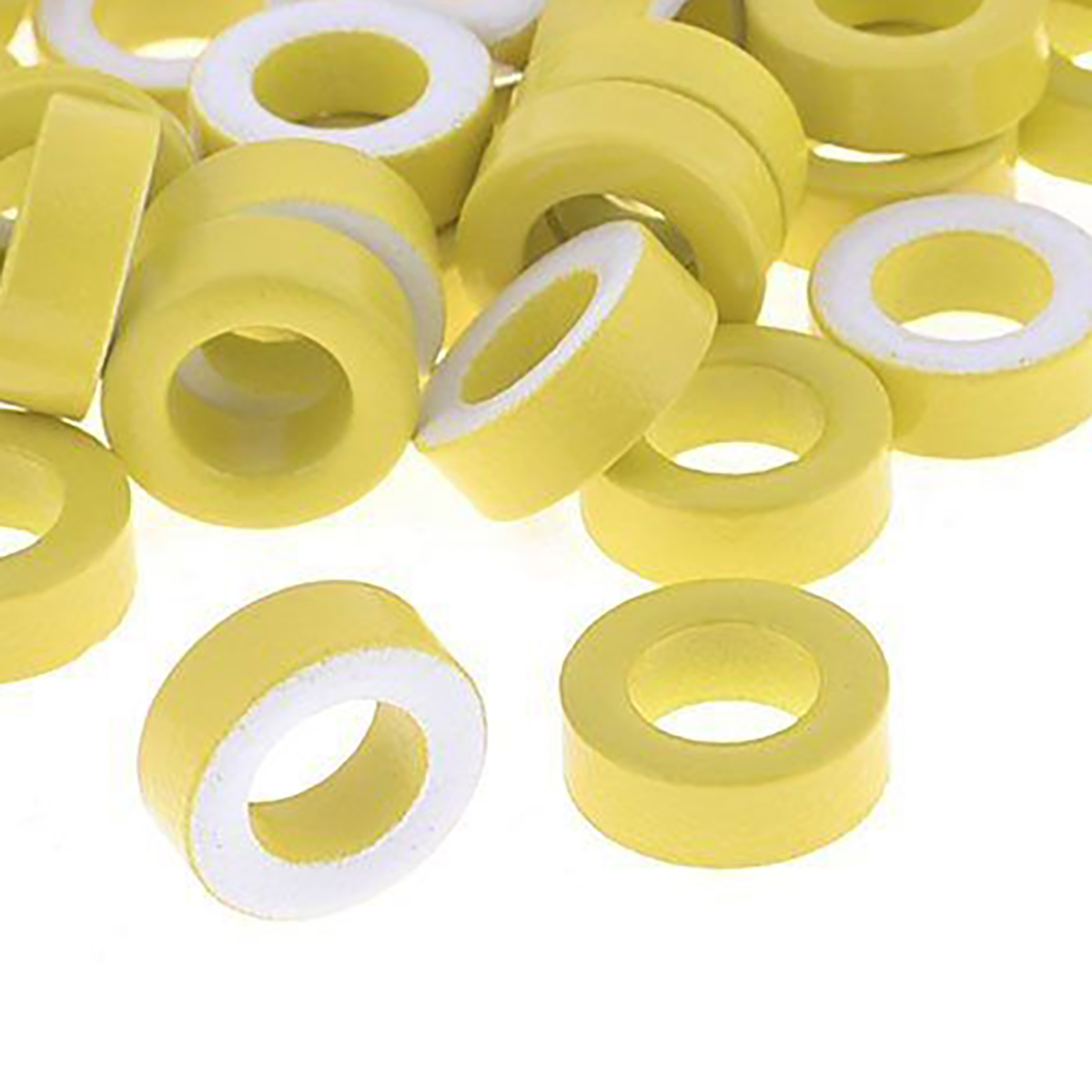 50pcs Toroid Ferrite Cores T50-26  Yellow White Ring Iron Cores For Power Transformers Inductors 7.5mm Inner Diameter