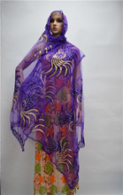 Latest design purple African Sego headtie with  shawl scarf French lace stone,Head Gear Sego Gele & Ipele HeadTie Wrapper