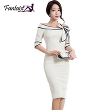 Fantaist Women Boat Slash Neck Off Shoulder Flared Bowknot Elegant Rockabilly Cocktail Party Bodycon Pencil Causual Work Dress(China)