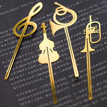 Instrument style bookmarks Music note book mark Gold plated Stationery office School supplies marcador de livros(China)