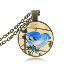Cartoon blue bird necklace antique bronze chain necklaces animal jewelry glass dome pendant flower choker necklace creative gift