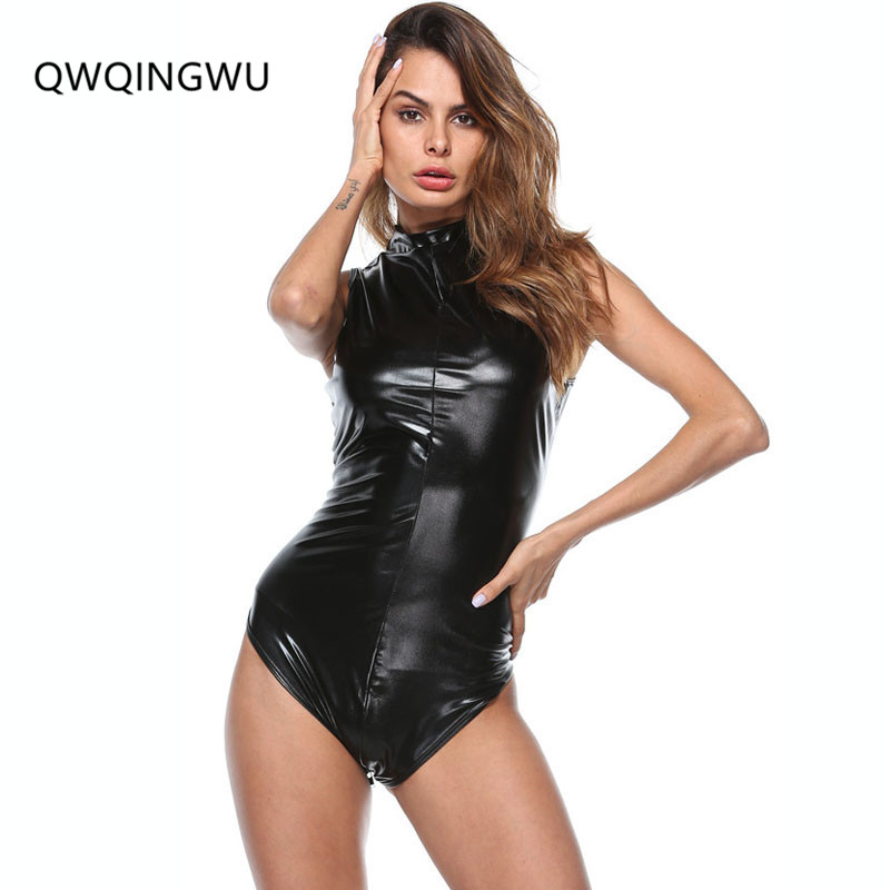 Black Latex Bodysuit Faux Leather Catsuit Erotic WetLook Jumpsuit Sexy Club Pole Dancing Costume Game Uniform Bodysuit Playsuit