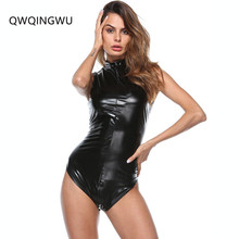 Buy Black Latex Bodysuit Faux Leather Catsuit Erotic WetLook Jumpsuit Sexy Club Pole Dancing Costume Game Uniform Bodysuit Playsuit