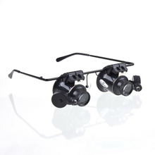 2016 On Sale Magnifying Glass Lupa 20X Eye Jewelry Watch Repair Magnifier Glasses With 2 LED Lights New Loupe Microscope