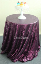 Premium Quality Purple Sequin drape Tablecloth Round Party Tablecloth 300cm(China)