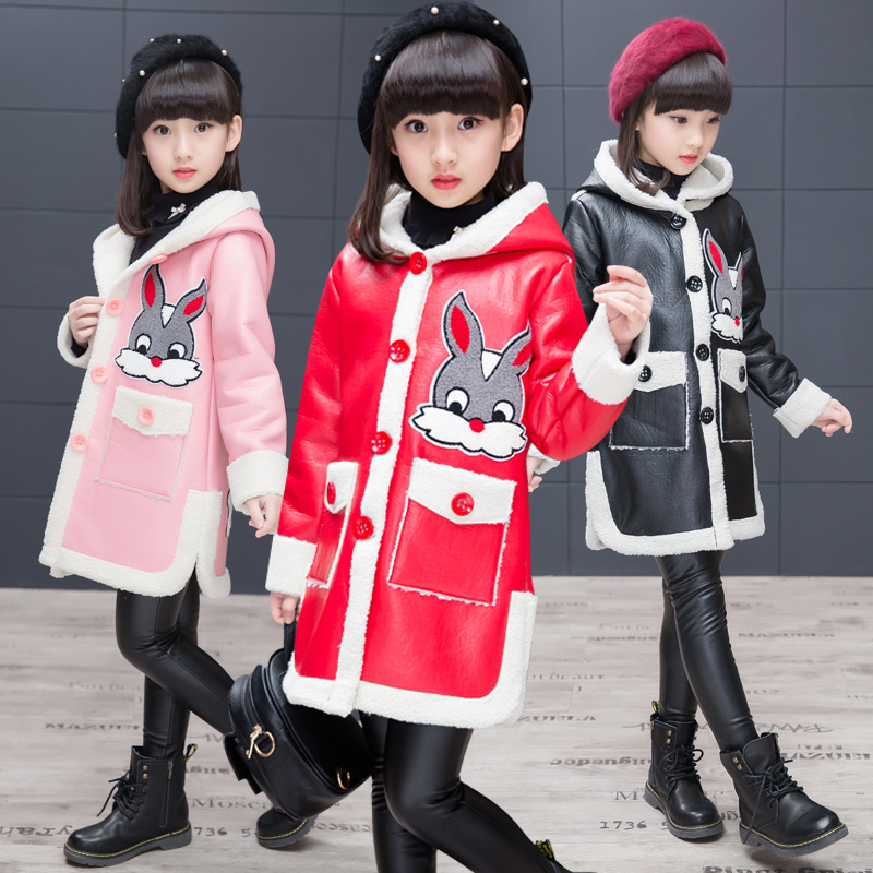 3color 2017 Winter&amp;Autumn Girls Jacket Fleece Jacket PU Leather Coats Manteau Gartoon Kids Medium long Jacket thick Outerwear<br>