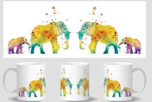 Elephant mugs Elephant cups black heat sensitive heat transforming heat changing color mug or white no change color water