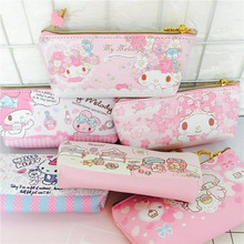 Kawaii My Melody Hello Kitty Twin Stars Cute Students Pencil Case Phone Bag KeyChain Sac a Main 19*9*2CM For Kids Christmas Gift(China)