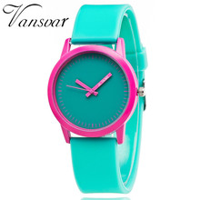 2017 Vansvar Brand Sweet Jelly Watch Cotton Candy Color Jolts The Clean Design Watch With A Silicone-Wrapped Soft Band Clock