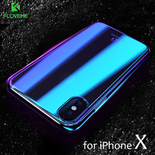 FLOVEME Phone Cases For iPhone X Luxury Blue Ray Fashion Mobile Accessories Gradient Hard Case for iPhone X 5.8 inch Conque Capa(China)
