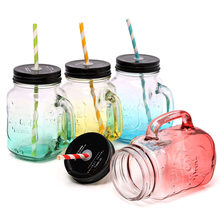 Best Promotion 500ML Durable Color Changing Glass Cup Bar Party Club Coffee Shop Beer Milk Juice Tea Mug With Paper Straw