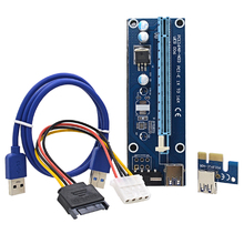 2017 NEW VER006 60CM PCI Express PCI-E 1X to 16X Riser Card Extender + SATA to 4Pin IDE Power Cord / USB 3.0 Cable for BTC Miner