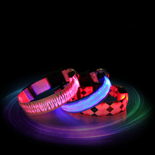 New LED Nylon Pet Dog Collar Night Safety Glow Flashing Dog Cat Collar Led Luminous Small Dogs Collars 3 color Wholesales S,M,L