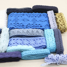 20 yards Blue and white series wrandom delivery of high-quality cotton lace mix color home costume jewelry DIY materials(China)