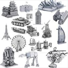 3D puzzle metal jigsaw for kids star wars/big ben/eiffel tower/black pearl/tractor /car/tank/airplain/castle juguetes educativos
