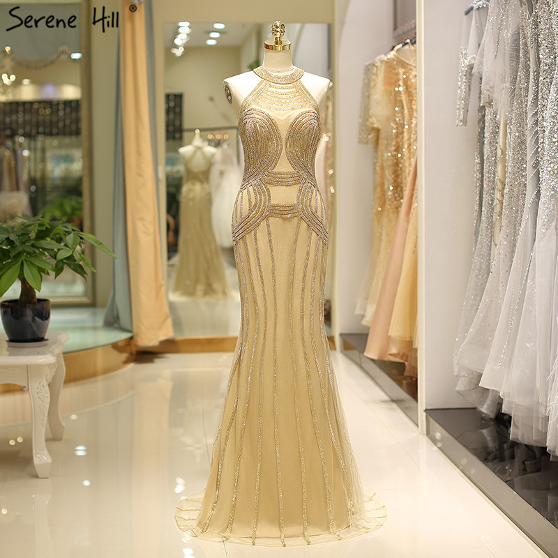 Dubai Gold Halter Sexy Prom Dresses Design 2019 Full Diamond Mermaid Luxury Prom Gwons Real Photos BLA6100