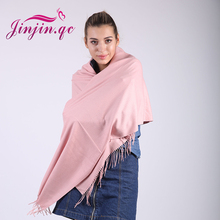 Jinjin.QC Brand Unisex Cashmere Women solid fashion scarf winter wool tassel scarves and wraps warm bandana drop shipping(China)