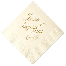 Set of 100 Personalized Napkins Custom Napkins Wedding Favor Napkins Wedding Shower Napkins Bar Napkins Foil Printed Name Date(China)