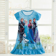 Elsa Anna Sofia Princess Dress Summer Girls Dress Nightgown Kids Dresses Night Gown Pajamas Dress Sleepwear Pyjamas Clothes(China)
