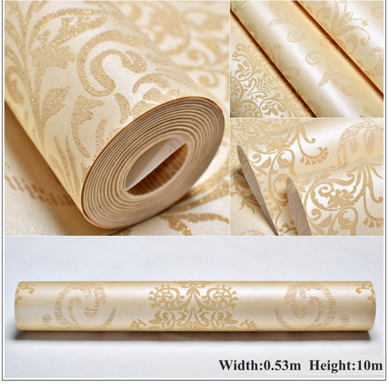 3D wallpapers European Luxury Floral Wallpaper Roll Embossed Gold Wallpaper Living Room Wallpaper Roll Desktop Decor Wall Paper<br>